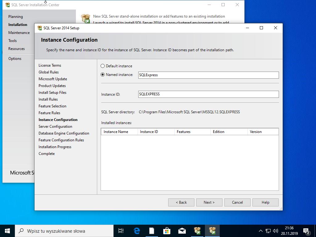 Nazwa instalacji SQL Serwer 2014