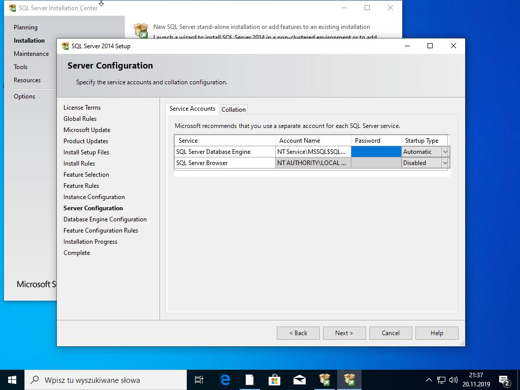 Konfiguracja SQL Serwer 2014