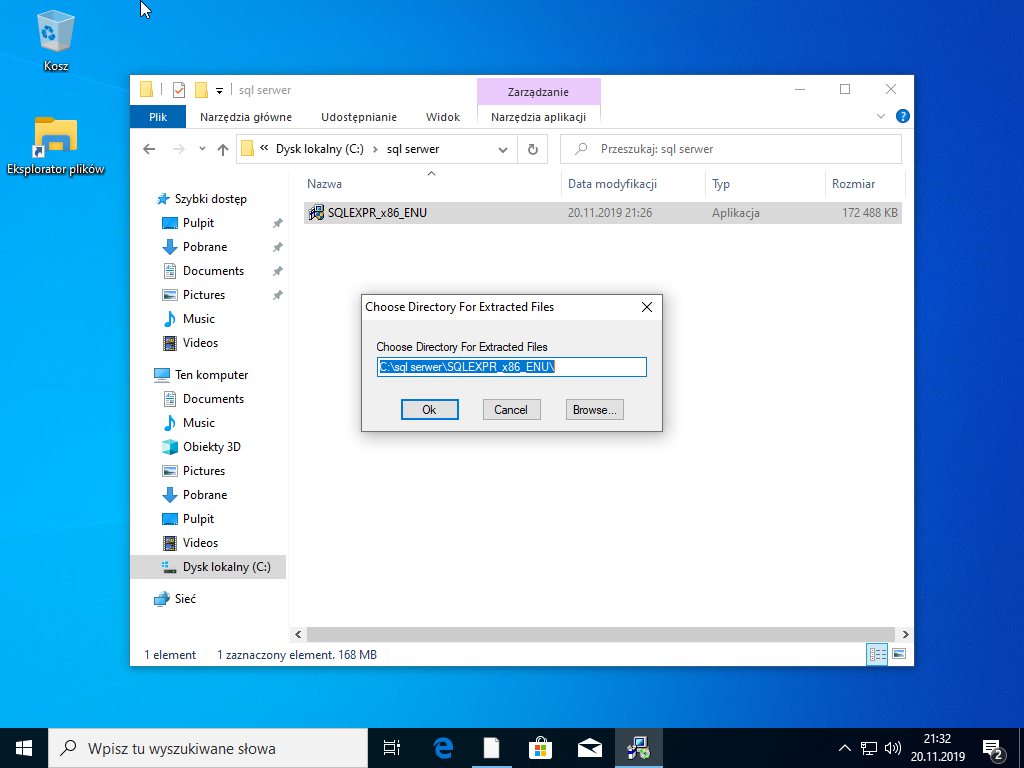 Wybór ścieżki instalacji SQL Serwer 2014