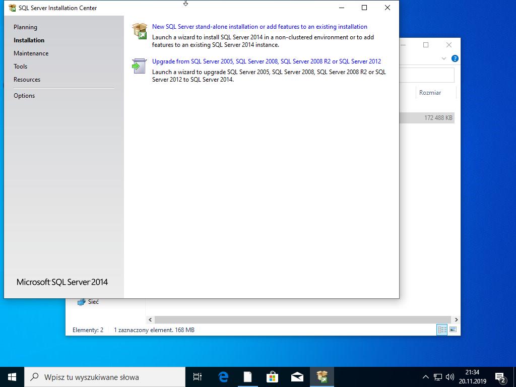 Nowa instalacja SQL Serwer 2014