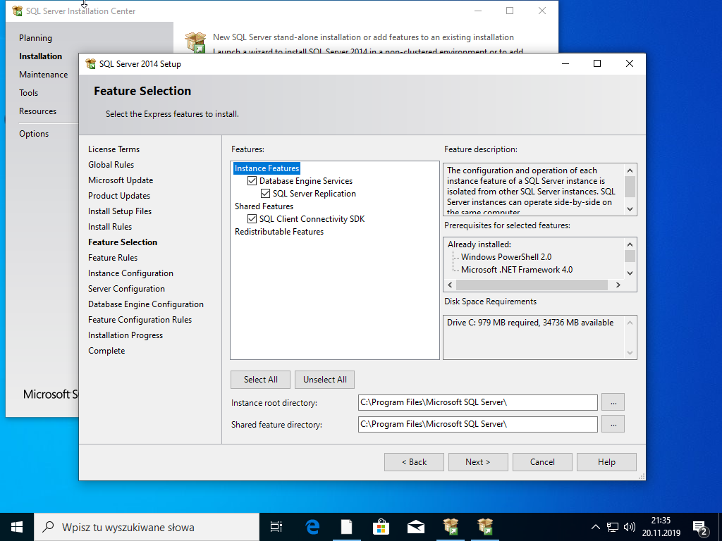 Selekcja składników SQL Serwer 2014