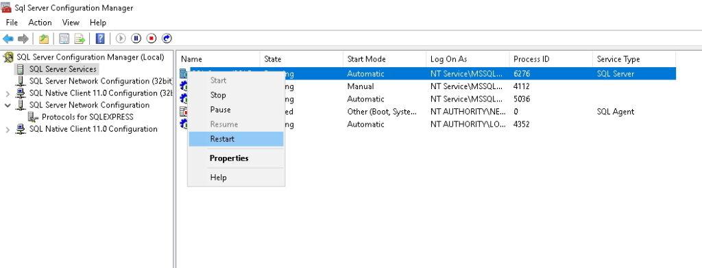 Restart SQL Serwer